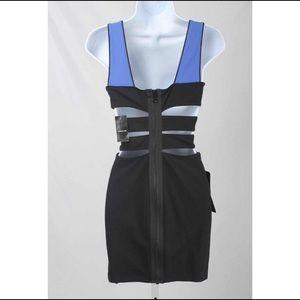 Bebe Addiction Color Block Cut out Bodycon Dress